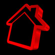 Red House Icon 3D Black