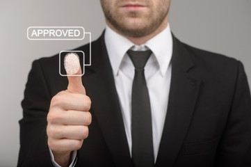 Business man thumb up with approved concept