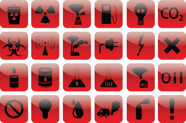 set of icons pollution  RED