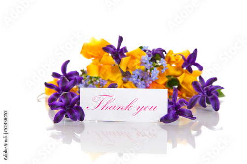 spring bouquet of flowers with gratitude
