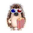 Cute hedgehog at the cinema