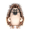 Cute hedgehog with glasses