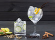 Gin tonic cocktail with lima cucumber vanilla cloves cardamom - 52360269