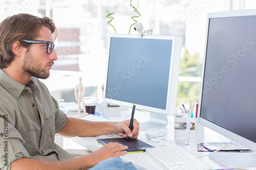 Graphic artist using graphics tablet