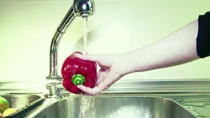 Lavando verduras, pimiento, berenjena, tomate