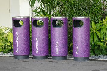 Cylindrical Recycle Bins  In The Park