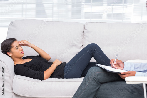 Woman getting distressed in therapy