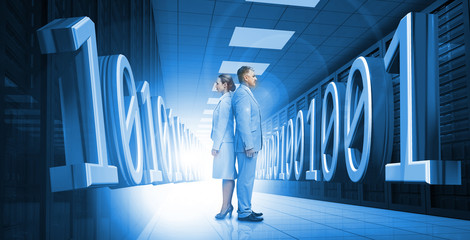 Business people standing back to back with 3d binary code in blu