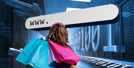 Girl with shopping bags looking at address bar