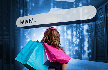 Girl holding shopping bags looking at address bar