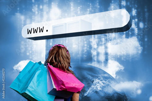 Girl with shopping bags looking at address bar with data servers