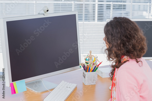 Woman working in creative office