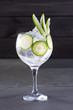 Gin tonic cocktail with cucumber and ice on black