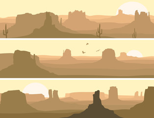 Abstract horizontal banner of prairie wild west.