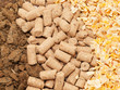 sunflower meal, maize and bran background. Food for horses and f