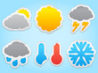 Paper weather icons. Transparent shadows.