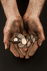 Dirty hands with coins 1