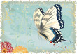Flying butterfly on a blue retro styled background
