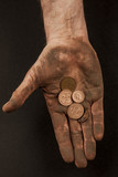 Dirty hand with coins 4