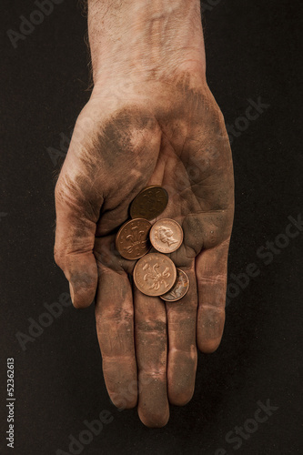 Dirty hand with coins 3