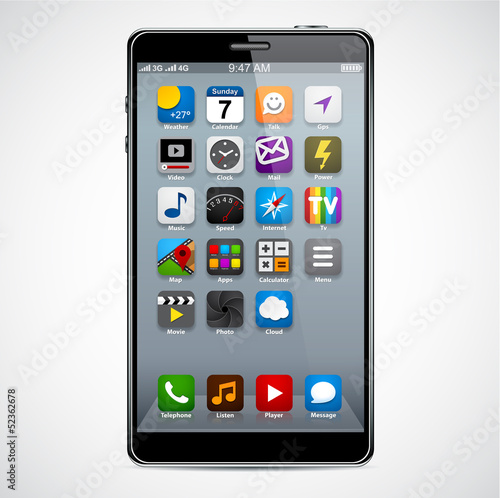 Modern smartphone with apps.