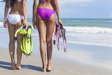 Rear View Beautiful Bikini Women At Beach