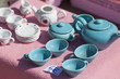 blue china tea set on sale