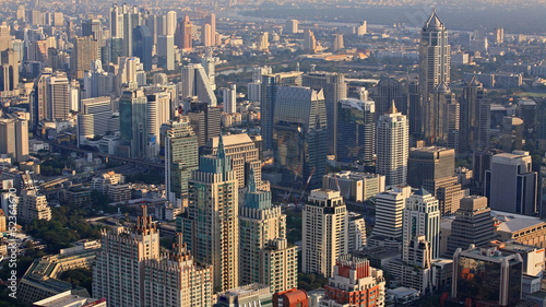 Aerial cityscape view of modern buildings in Bangkok