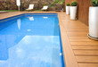 canvas print picture - BLUE SWIMMING POOL WITH WOOD FLOORING-PISCINA MADERA COLOR
