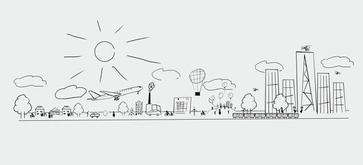 Doodle of a cityscape