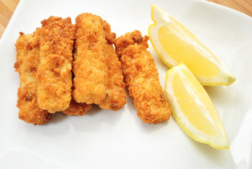 Fish Sticks with Lemon Wedges