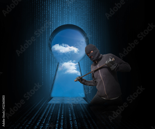 Doorway revealing cloudy sky with burglar