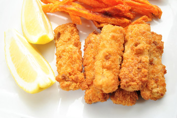 Fish Sticks with Lemon Slices on the Side