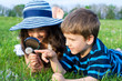 Kids looking to dandelion with a magnifying glass