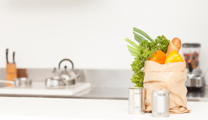 Vegetable putting on counter