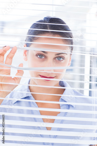Smiling businesswoman looking through a venetian blind