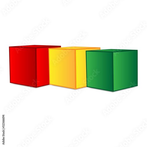 cubes of different colors on a white background