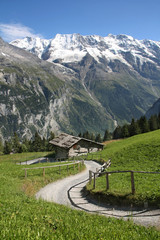 A traditional wooden hut under the foot of the Alps