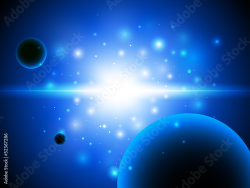 Space background with stars and planet.