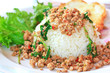 Thai spicy food; Fried pork with sweet basil and fried egg
