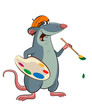 Illustration of an mouse artist with a palette and a brush in hi