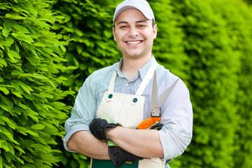 Handsome young gardener portrait
