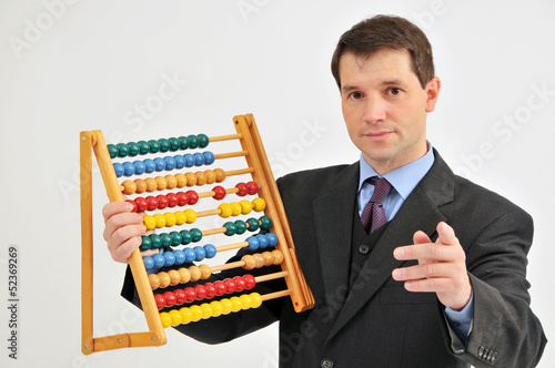 Businessman with abacus.