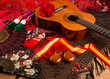Leinwanddruck Bild - Cassic spanish guitar with flamenco elements
