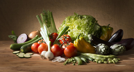 Vegetable on the  wooden table