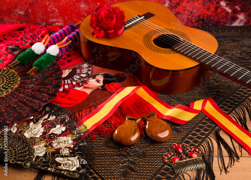 Leinwanddruck Bild Cassic spanish guitar with flamenco elements