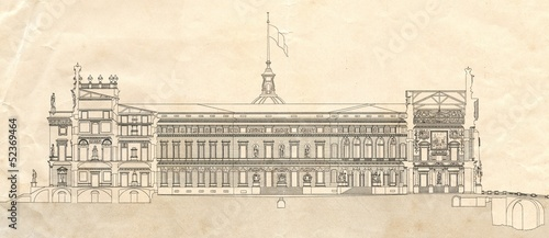 Draving of Saint Michael's Castle (Saint Petersburg, Russia)