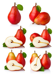 Set of ripe red pear fruits with green leaves isolated