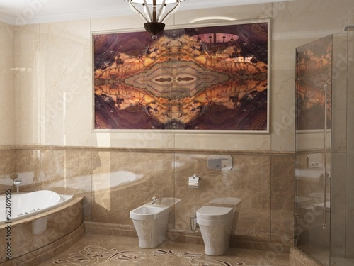 Interior the bathroom in classic style - 52369655