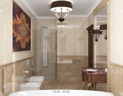 Interior the bathroom in classic style - 52369658